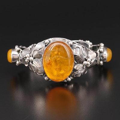 Russian Sterling Silver Amber Bracelet