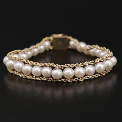 14K Gold Pearl Rope Chain Trim Bracelet