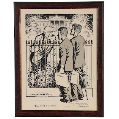 Hugh Haynie Political Cartoon of President Johnson, Bobby and Ted Kennedy, 1965