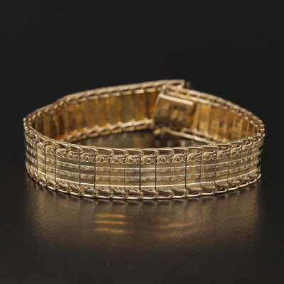 14K Yellow Gold Link Bracelet with Textured Accents