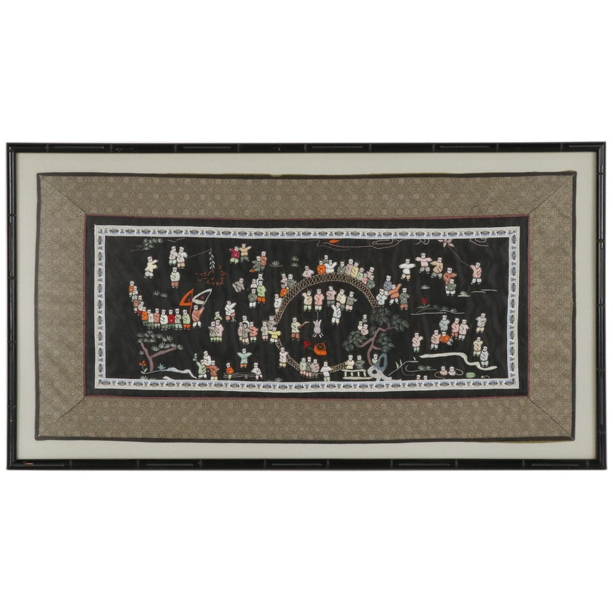 """Chinese Hand-Embroidered """"Hundred Boys"""" Silk Panel"""