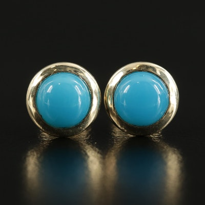 14K Yellow Gold Turquoise Stud Earrings with 18K Clutch Backs