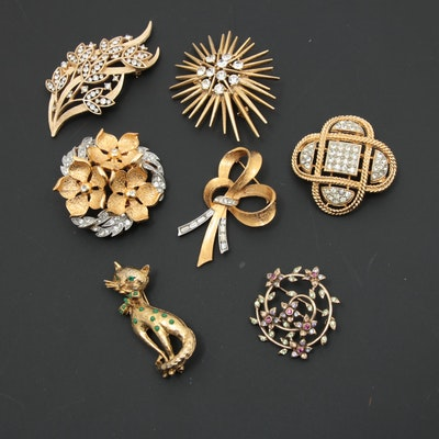 Vintage Brooches Featuring Weiss, Lisner, Monet, Hobe and Trifari