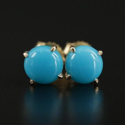 14K Gold Turquoise Stud Earrings