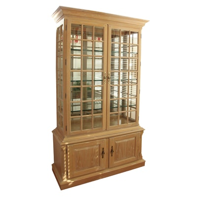 Illuminated Display Cabinet in Distressed Wood Finish; Late 20th Century