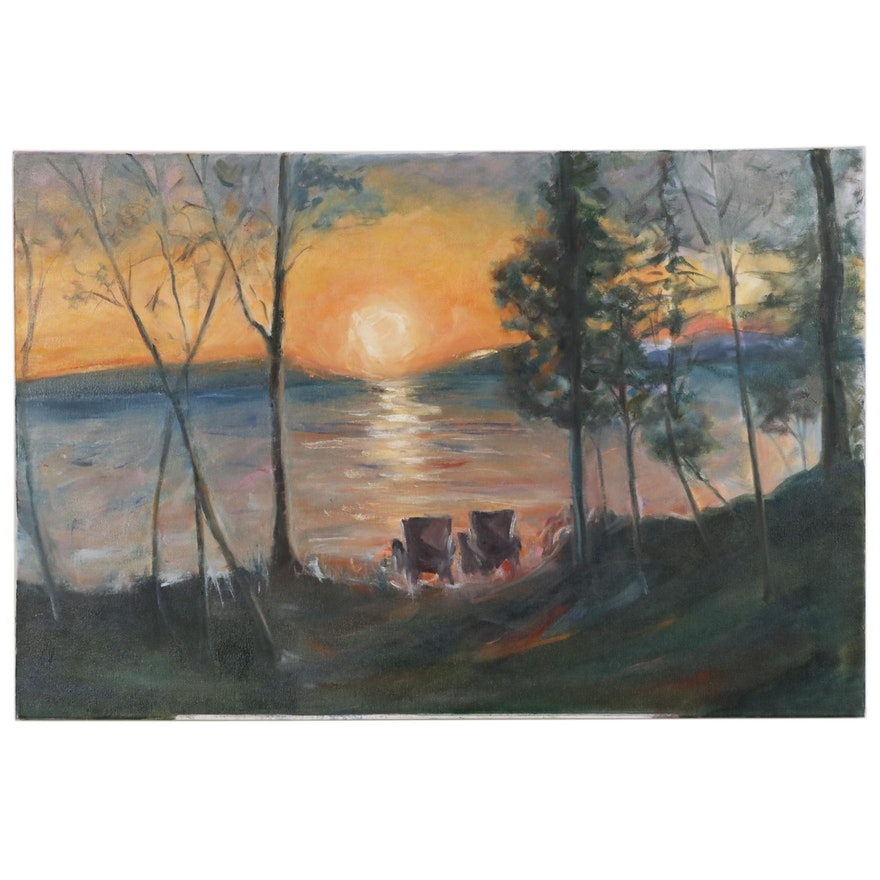 Landscape Oil Painting of Lake Scene