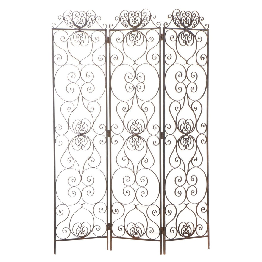 Wrought Iron Open Flat Work 3-Panel Screen, 20th Century