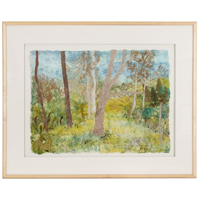 "Margaret Rhein Mixed Media Collage ""Christman's Meadow"""