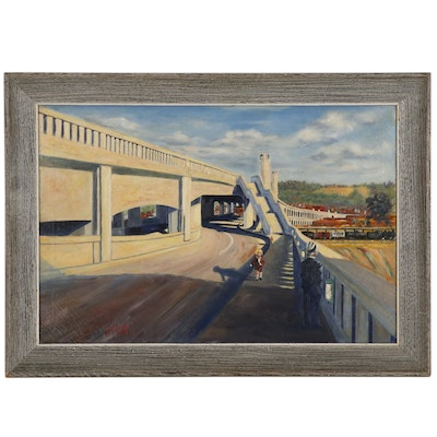 E.F. Walsh Street Scene Oil Painting of Western Hills Viaduct, 1933
