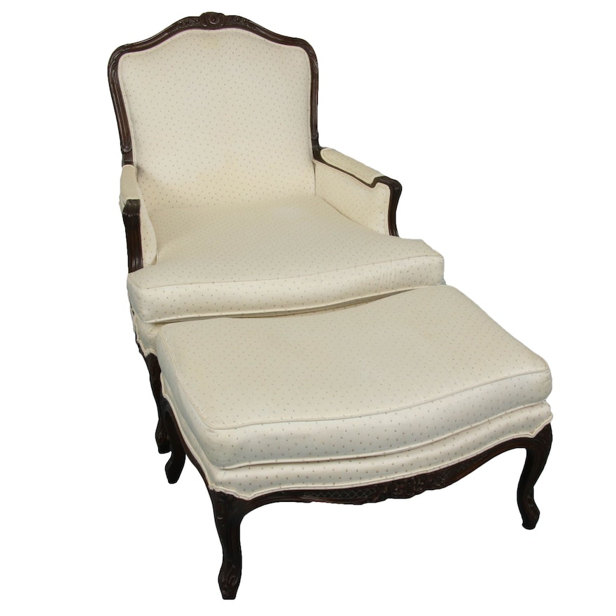 French Provencial Style Carved Armchair with Ottoman