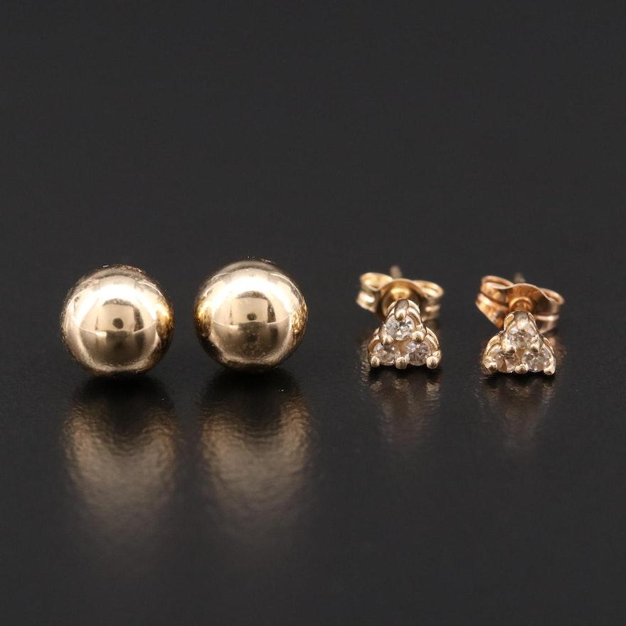 14K Yellow Gold Diamond Stud and Ball Earrings