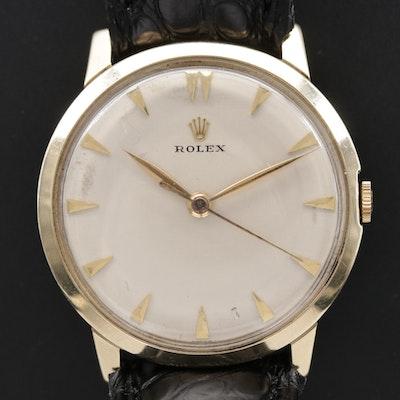 Vintage 14K Gold Rolex Stem Wind Wristwatch, Circa 1960s
