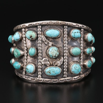 Southwestern Style Sterling Turquoise Cuff