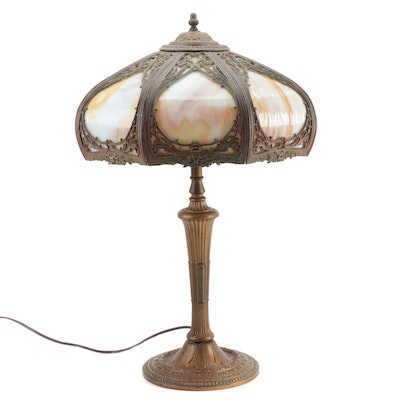 Miller Lamp Co. Art Nouveau Gilt Metal Lamp with Slag Glass Shade, Early 20th C.