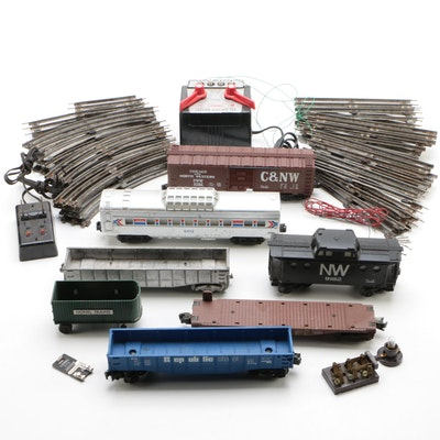 Lionel O Gauge Train Cars, Track, and 4090 Transformer, Late 20th Century