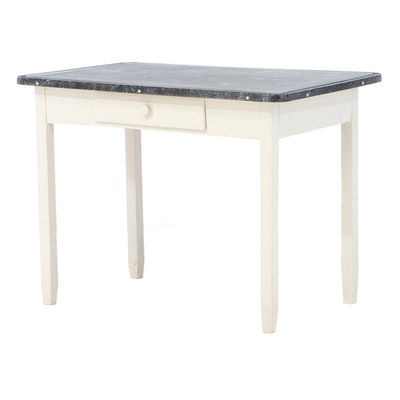Painted Kitchen Table with Enameled Metal Top, circa 1940
