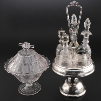 Victorian Style Silver Plate Cruet Set with Lidded Glass Compote
