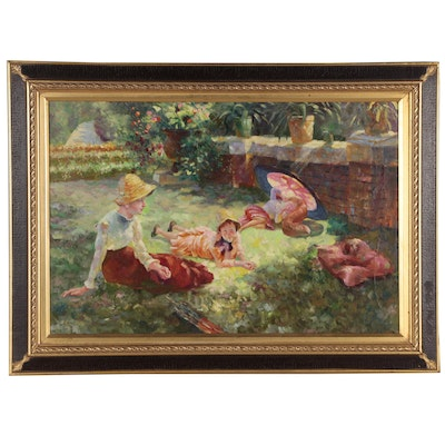Oil Painting of Woman and Children in Garden, Late 20th Century