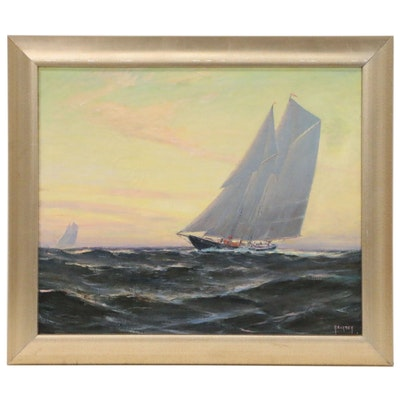 Nautical Oil Painting of Sailing Yachts, Mid 20th Century