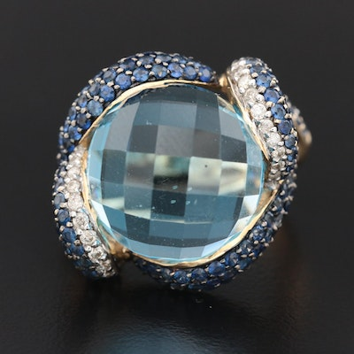 Contemporary 14K Yellow Gold Topaz, Sapphire and Diamond Ring