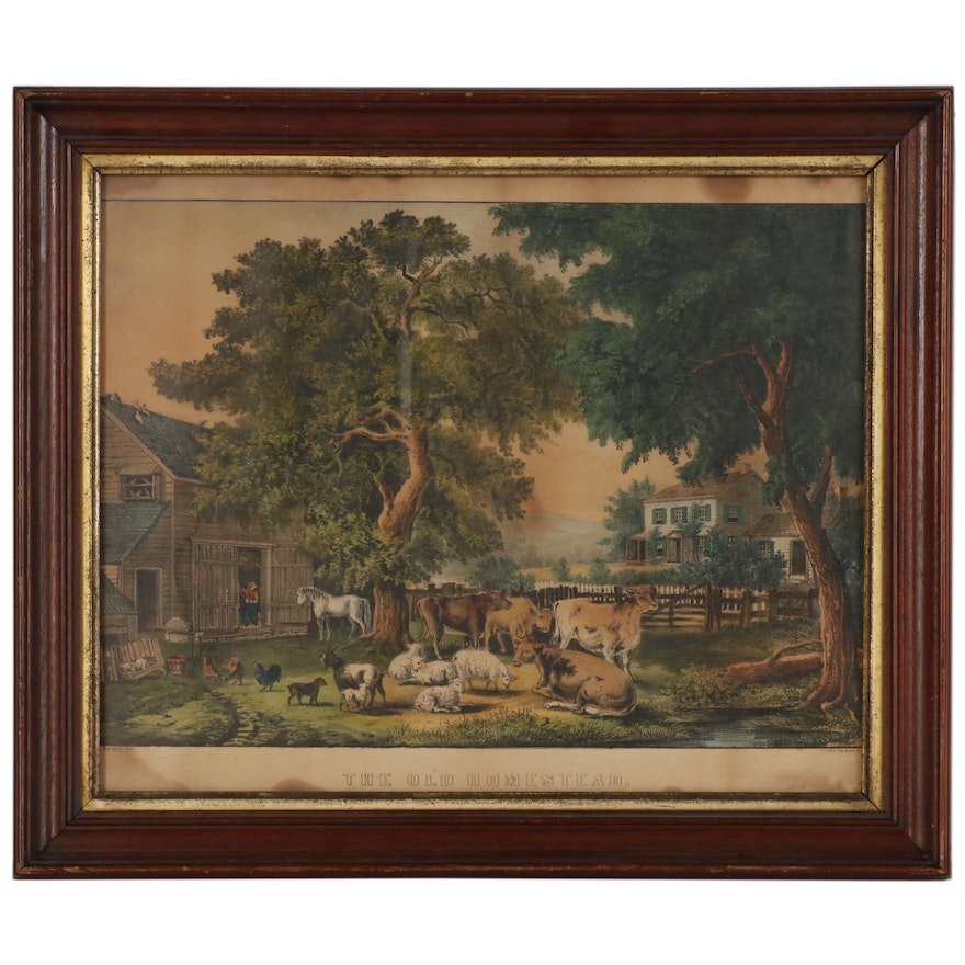 """Currier and Ives Hand Colored Lithograph """"The Old Homestead"""""""