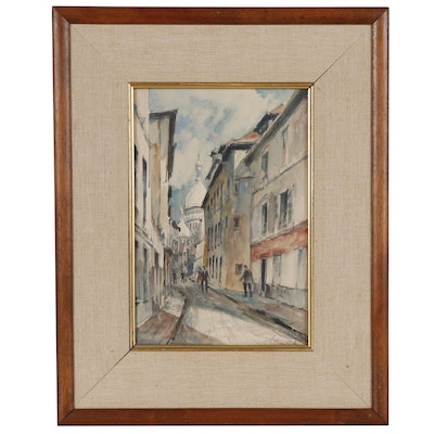 Pierre Eugene Cambier Watercolor Painting of a Paris Street Scene