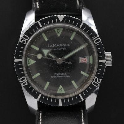 Vintage LaMarque Skin Diver Stem Wind Wristwatch, Circa 1960