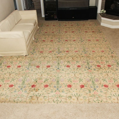 "9'9"" x 13'7"" Hand-Knotted Nepalese Floral Wool Area Rug"