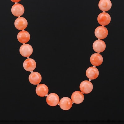 Coral Knotted Necklace with Sterling Silver Clasp