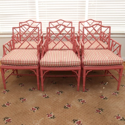 Six Pink-Painted Chippendale Style Faux Bamboo Dining Chairs, Late 20th Century