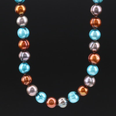 Knotted Strand of Multi-Colored Pearls with Sterling Clasp