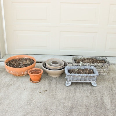 Cement and Ceramic Garden Planters