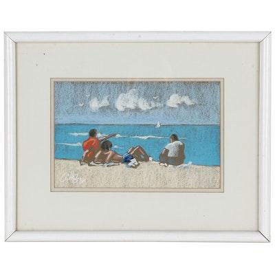 Pastel Drawing of Beach Scene, Late 20th Century