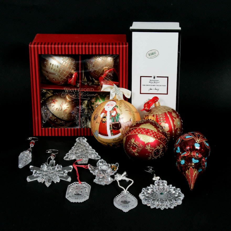 "Waterford ""The Jim O' Leary Collection"" with Other Crystal and Glass Ornaments"