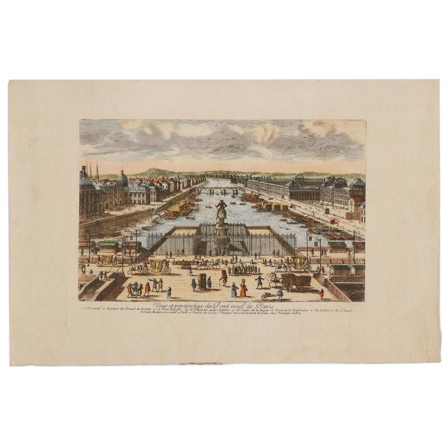 """Hand Colored Etching """"Veüe et Perspective du Pont-neuf de Paris"""""""