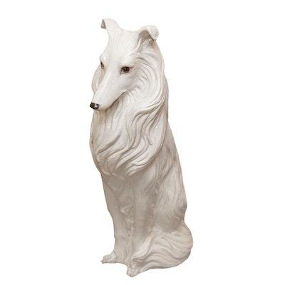 Italian Ceramic Border Collie Sculpture