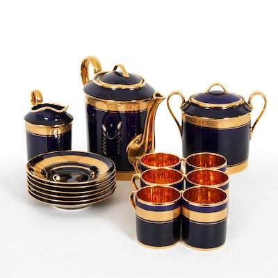Legle Porcelaine d'Art Limoges Gilt Accented Porcelain Tea Service