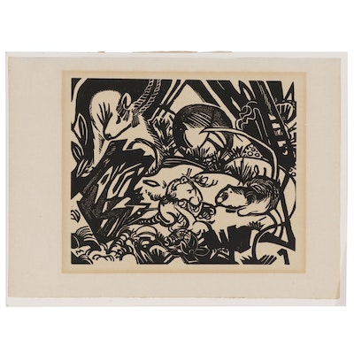 "Franz Marc Woodcut ""Aus der Tierlegende"", Early 20th Century"