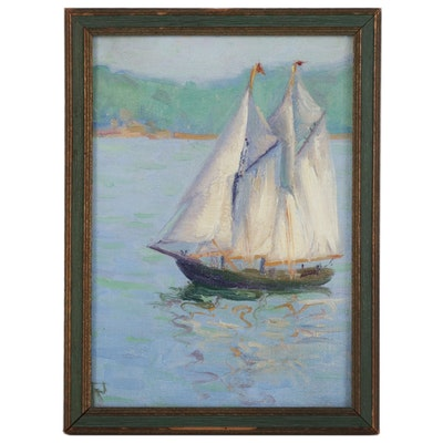 "Marine Oil Painting ""Fishing Schooner, Gloucester Mass."", Mid 20th Century"