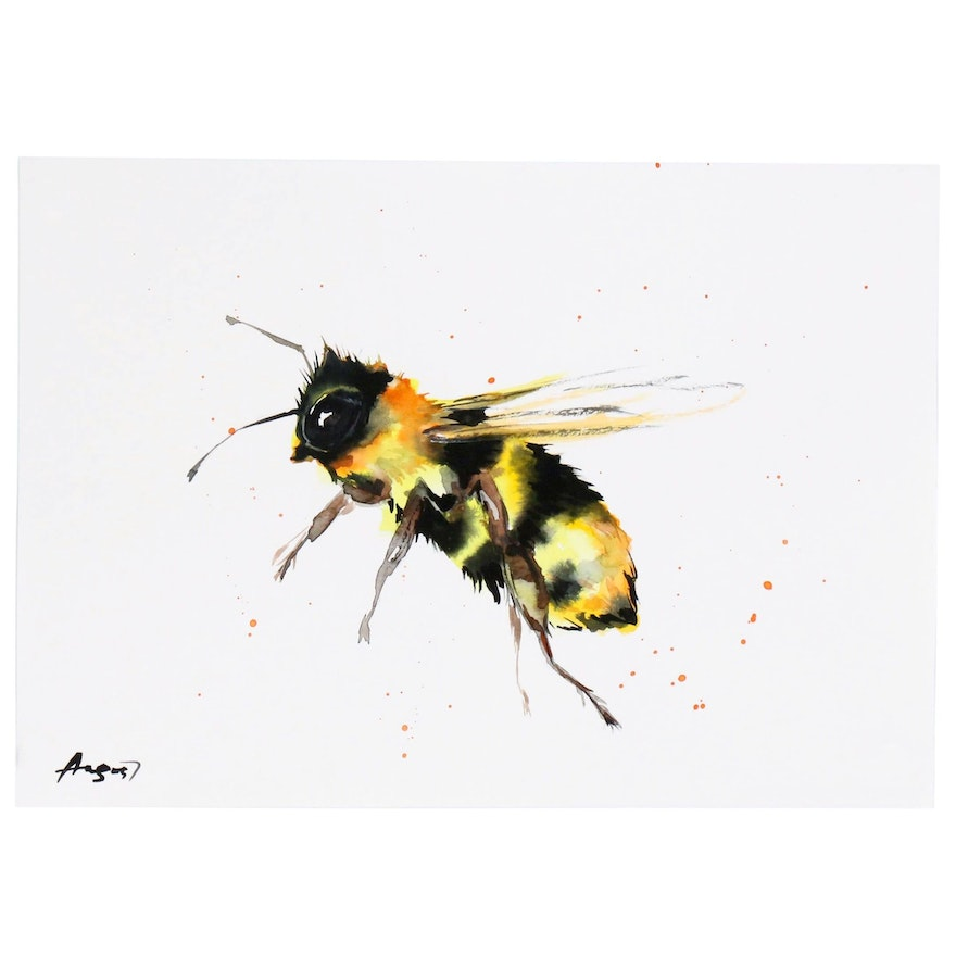 Anne Gorywine Watercolor Painting of Bumble Bee