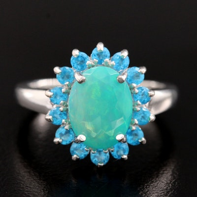 Sterling Silver Opal and Apatite Ring