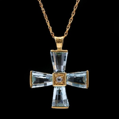 Sterling Silver Blue and White Topaz Cross Pendant Necklace