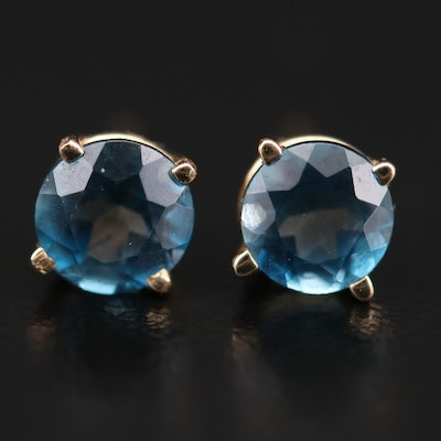 14K Yellow Gold Topaz Solitaire Stud Earrings