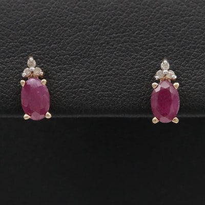 10K Yellow Gold Ruby and Diamond Earrings