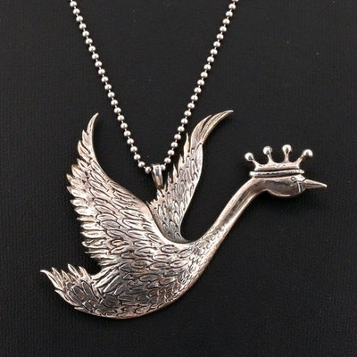 """Hands and Hammer """"Hans Christian Andersen"""" Collection Crowned Goose Necklace"""