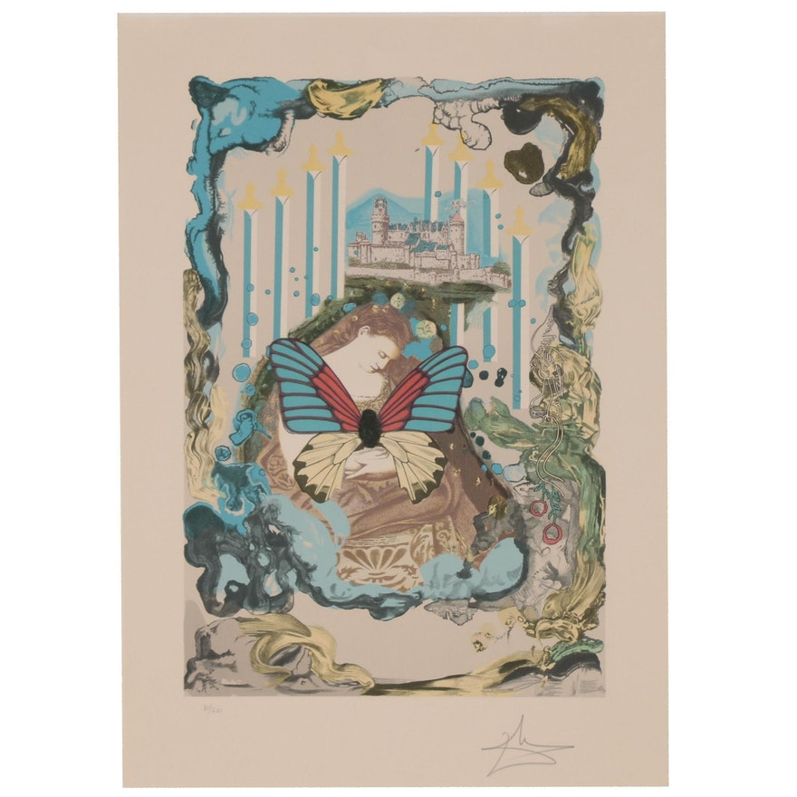 """Salvador Dalí Lithograph """"Papillons Anciennes: Courtesan"""", 1976"""