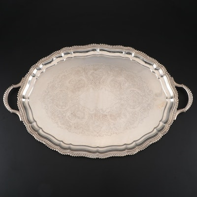 Gorham Victorian Style Silver Plate Butler's Tray