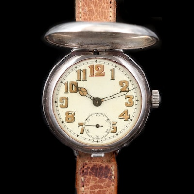 Antique .935 Silver Swiss Trench Style Wristwatch