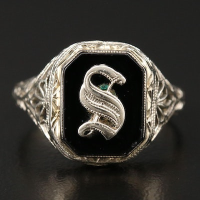 Art Deco 14K White Gold Black Onyx Signet Ring