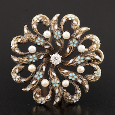 Circa 1900 14K Yellow Gold Diamond and Pearl Converter Brooch